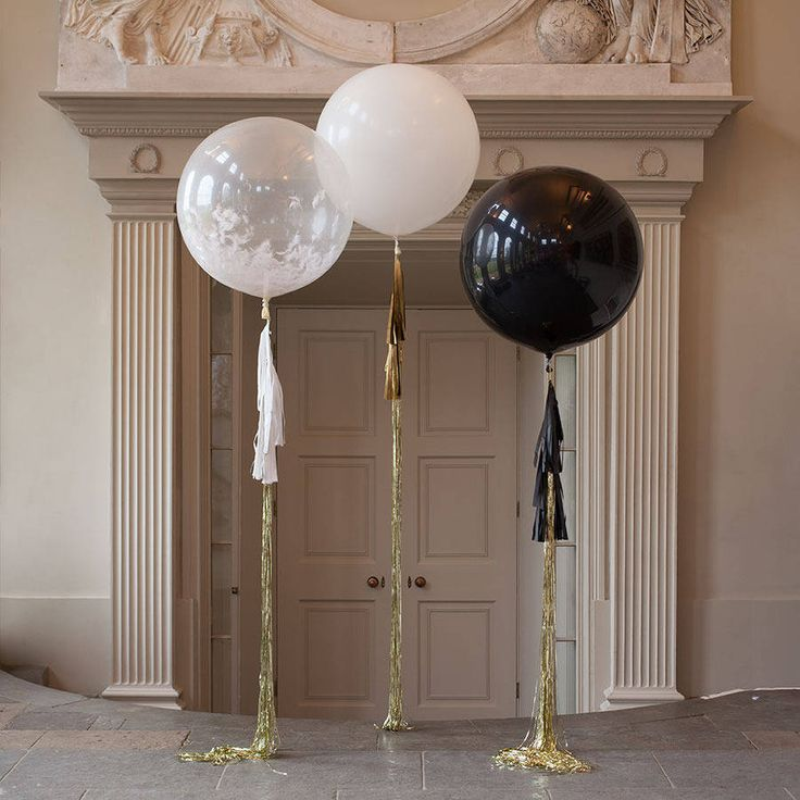 Black, white + gold large tasselled balloons | could place at front door to welcome guests | housewarming
