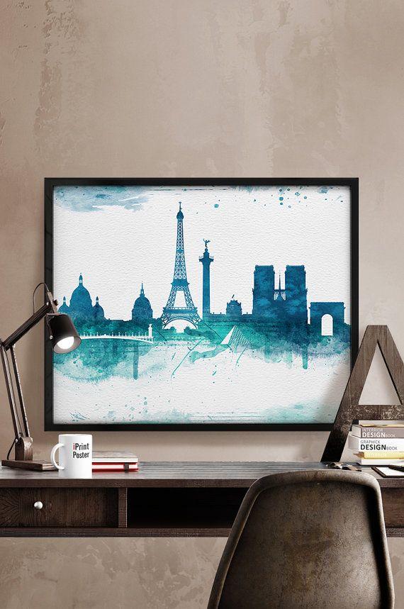 Paris print, Paris poster, Paris skyline, France, wall art, home decor, travel poster, city prints, art gift, home gallery, iPrintPoster