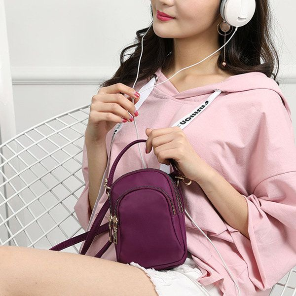Hot-sale designer Women Nylon Waterproof Multi- Slot Solid Crossbody Bag Mini Portable Phone Bag Online - NewChic