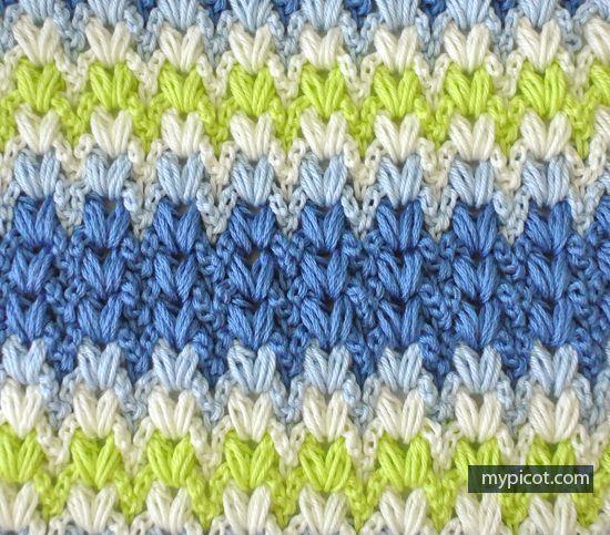 Crochet Mutlicolored Puff Stitch Tutorial - (mypicot)
