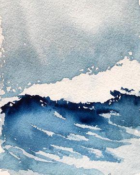 La petite vague… · · · · · #watercolor #art…