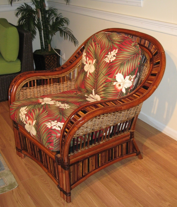 rattan chair with cushions pinned by