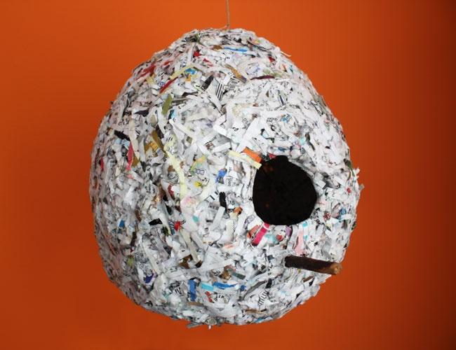 shredded paper collage birdhouse