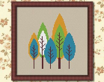 Modern Trees, Counted Cross stitch, Pattern PDF, Cross Stitch Chart , Cute Cross Stitch, Cross stitch pattern, Instant download. 0149
