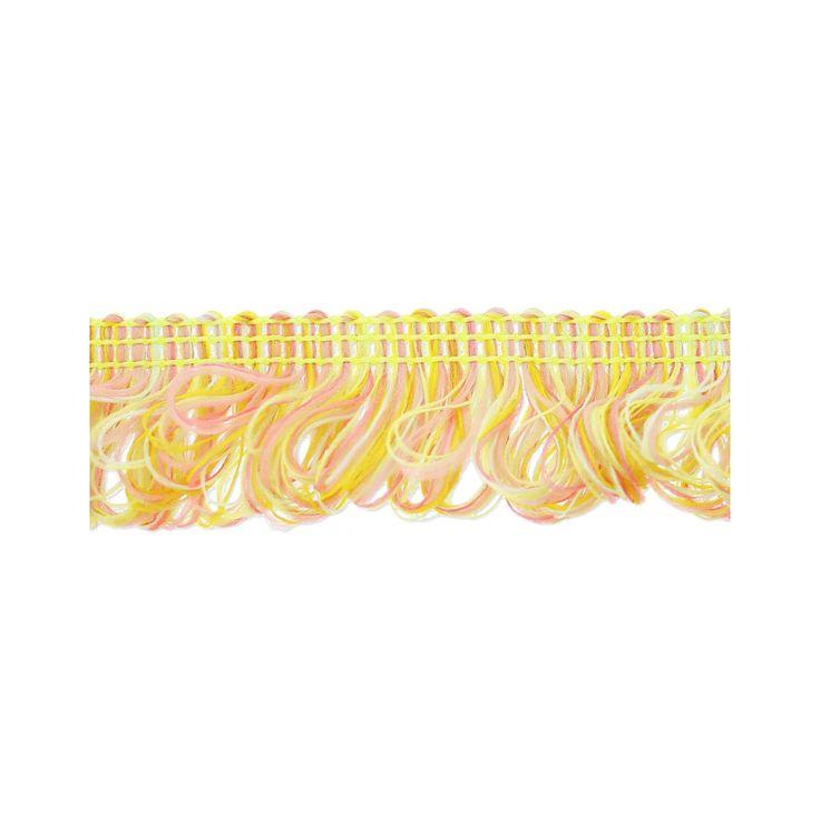 Galon franges bouclées 17 mm Pastel Jaune Mix x1m