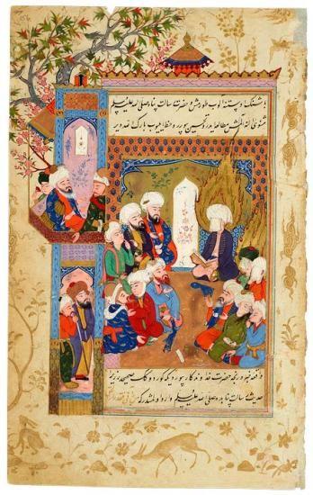 ḤusĀm Al-Dīn Chelebi, in a Dream, Sees the Prophet MuḤammad Reading Rūmī's Masnavī   Husam Al-Din Chelebi, in a Dream   The Morgan Library & Museum