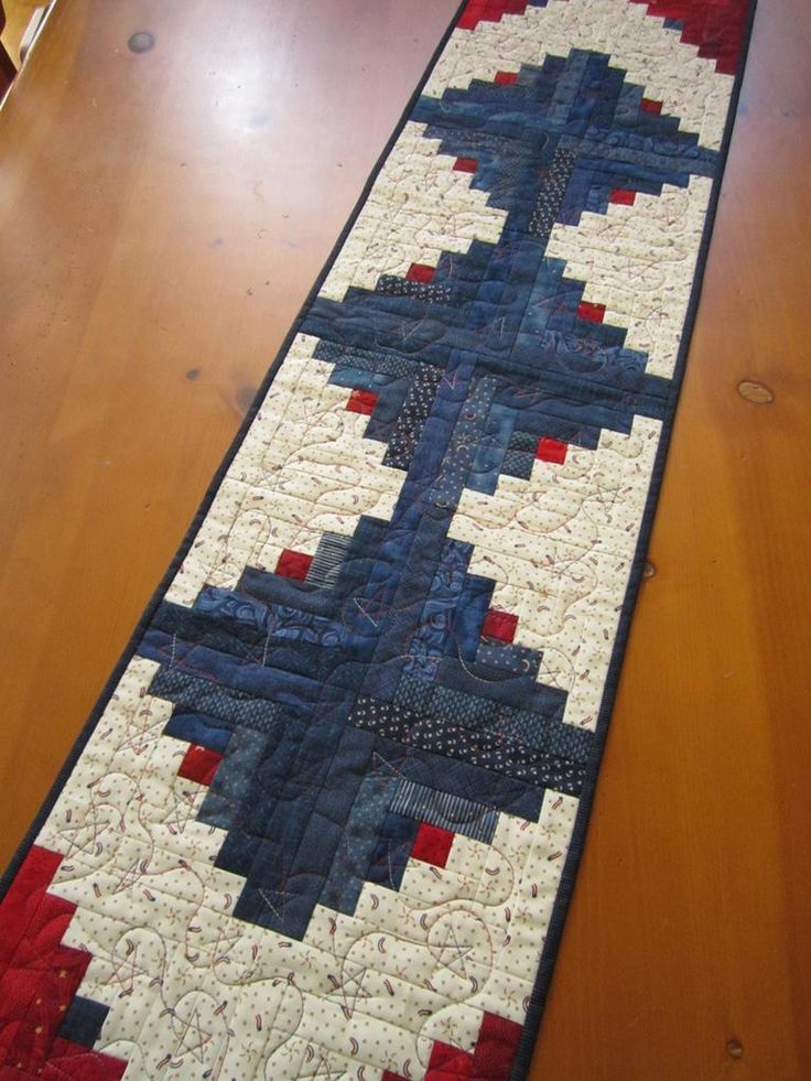 Quilted Patriotic Table Runner Red and Blue by patchworkmountain.com