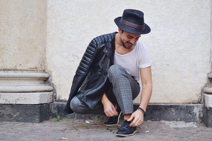 Hat: Vintage;  Leather Jacket: H&M; T-Shirt: H&M; Pants: Salvatore Ferragamo; Shoes: Zara