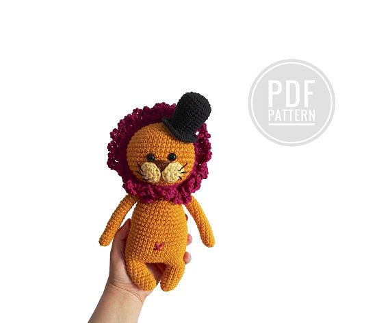crochet pattern little lion with a hat pdf amigurumi handmade