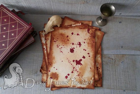 FREE SHIPPING - Parchment paper -  Blood stained