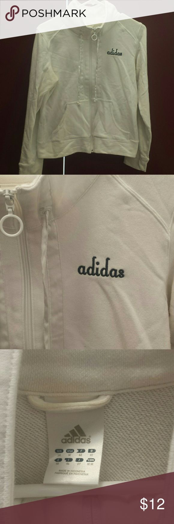 Ladies Adidas Zip Up White Adidas Zip up medium. Lightweight and comfortable. Zips up past your neck, not quite a cowl neck but higher than mock. adidas Tops Sweatshirts & Hoodies