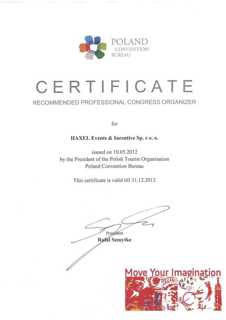 Z przyjemnością prezentujemy nasz certyfikat Rekomendowanego Organizatora Konferencji