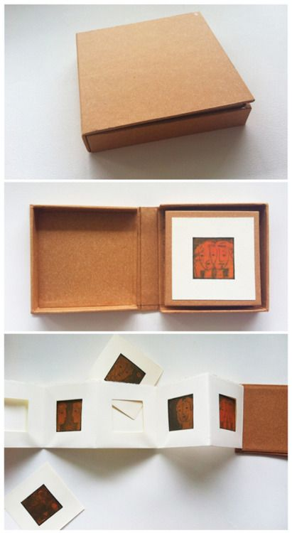 Handmade book by Naz Rahbar. This book was created to house mini etchings by Nilou Afshar. The prints can be arranged differently, creating different stories.  2010