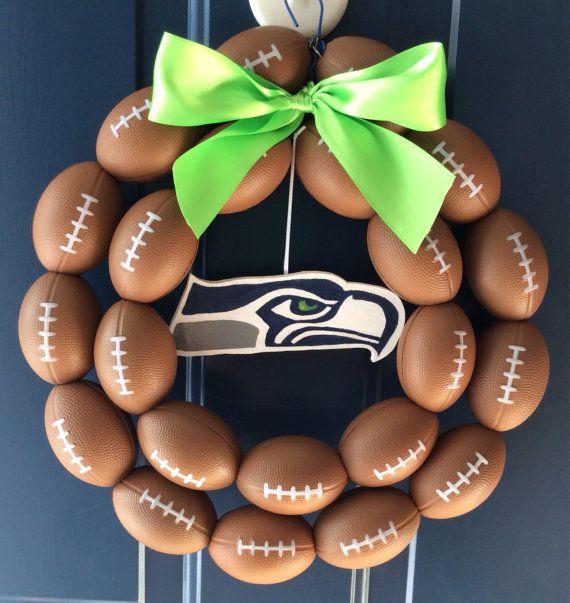 Seattle Seahawks  Burlap Football Wreath by NTgoodthings on Etsy, $29.99