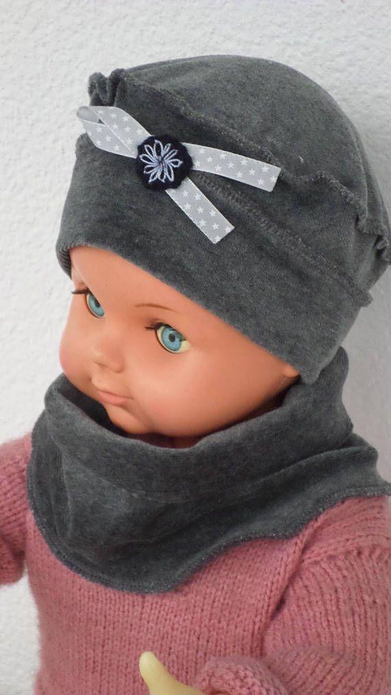 d673e4ffd9b0 bonnet béret chapeau snood tour du cou bébé fille lin eva kids velours gris