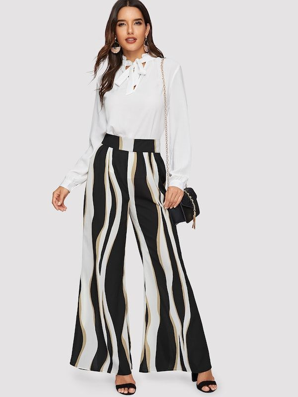 66f7afa858 Wide Waist Color Block Wide Leg Pants in 2019 | Fashion & Accessory ...