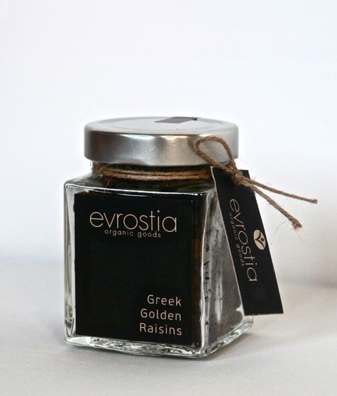 """Evrostia Organic Goods"", Organic Greek Golden Raisins, 200gr Type: Organic Greek Golden Raisins. Source: From organic, Corinthian Sultanas raisin vineyards, small production. Cultivation: Organic agriculture. Properties: Raisins are diet «treasure». They are a concentrated source of energy, vitamins, minerals and antioxidants. Serving Suggestions: Plain, in salads, in desserts, at breakfast with cereal, mixed with other dried fruits and nuts providing a delicious and nutritious snack…"