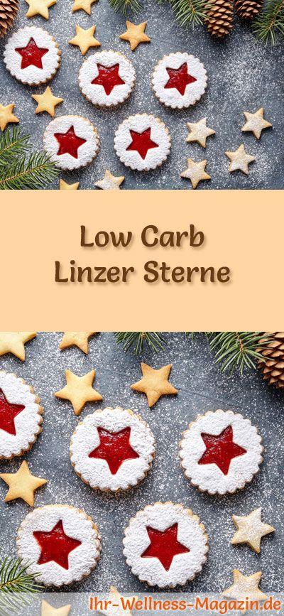 #Plätzchen backen ~ Low-Carb-Weihnachtsgebäck-Rezept für Linzer Sterne: Kohlenhydratarme, kalorienreduzierte Weihnachtskekse - ohne Getreidemehl und Zucker gebacken ... #lowcarb #backen #weihnachten