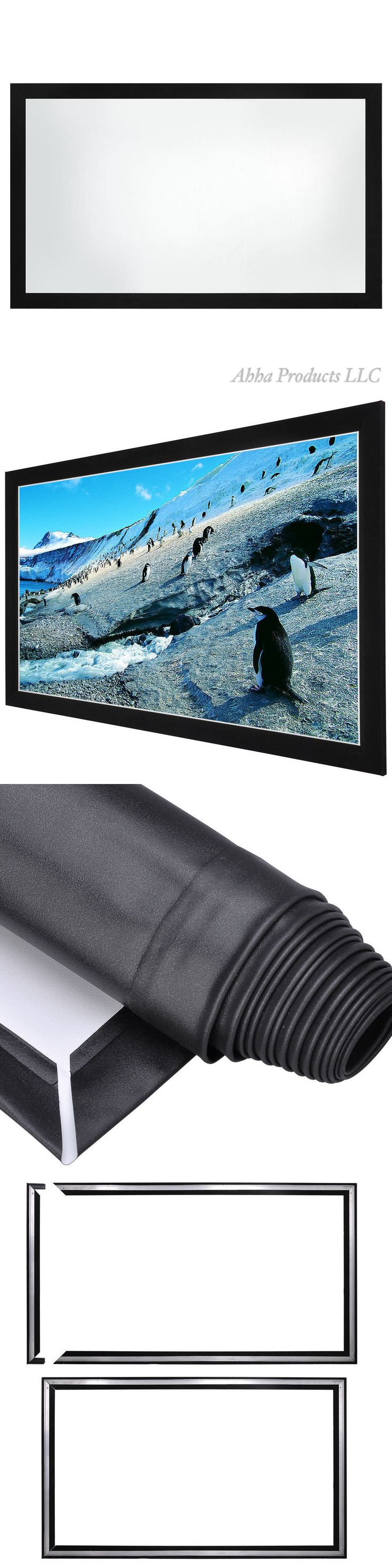 Projection Screens and Material: 92 Projection Screen 80X45 16:9 Fixed Frame Home Theater Movie Tv Projector BUY IT NOW ONLY: $164.99