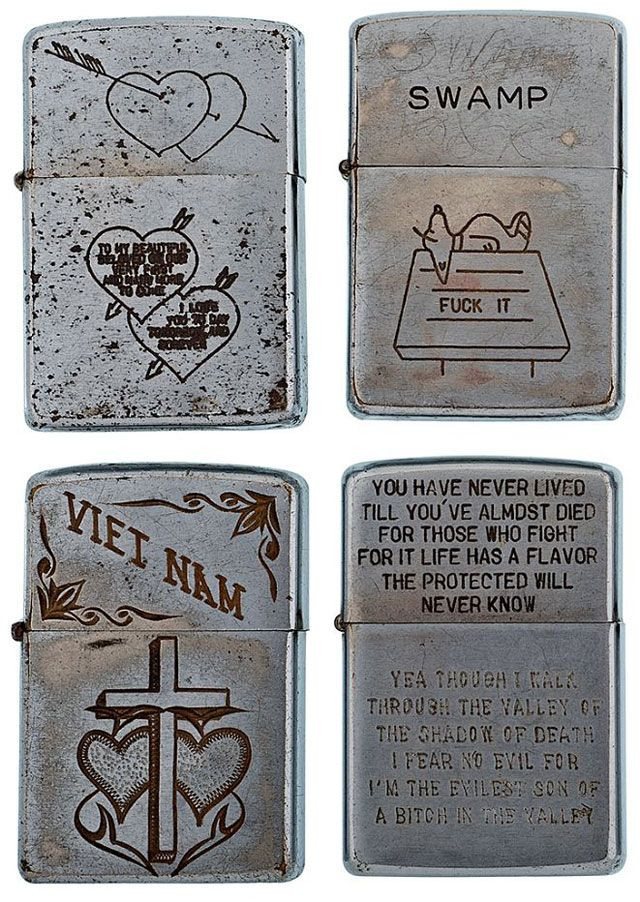 soldiers engraved zippo lighters from the vietnam war...
