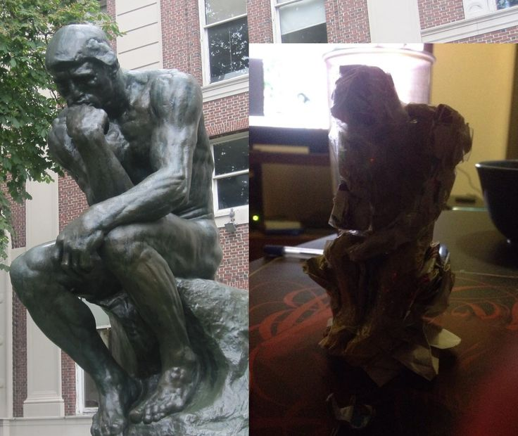 The Thinker done in paper.