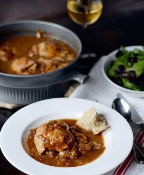 Braised French Onion Chicken with Gruyere