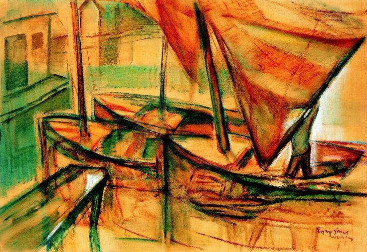Egry, József (1883-1951) - Boat Harbour, Keszthely