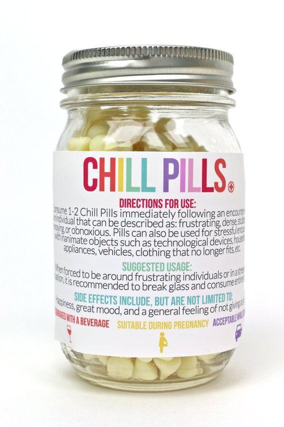 Chill Pill Labels Chill Pill Jar Labels Easy Diy Gift Ideas Etsy Mason Jar Gifts Easy Diy Gifts Mason Jars Labels