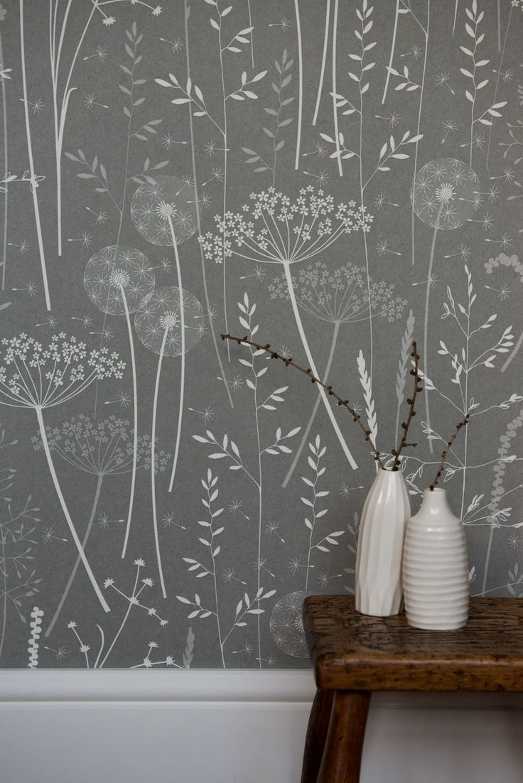 'Paper Meadow' wallpaper in charcoal...