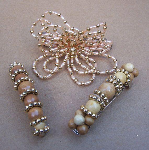 Bijoux Pour Cheveux Vintage : Cheveux vintage barrettes perles barrette