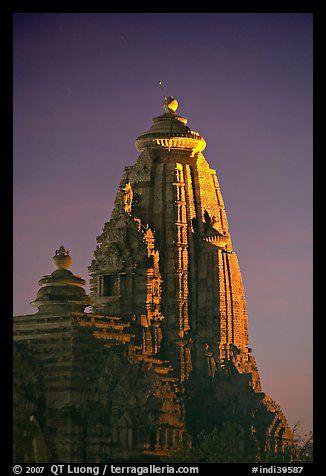 Illuminated temple at night, Western Group. Khajuraho, Madhya Pradesh, India (color)
