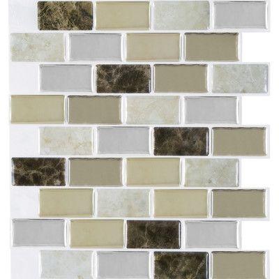 """Achim Importing Co Magic Gel Self Adhesive 9.13"""" x 9.13"""" Vinyl Wall Tile in Bronze Granite"""