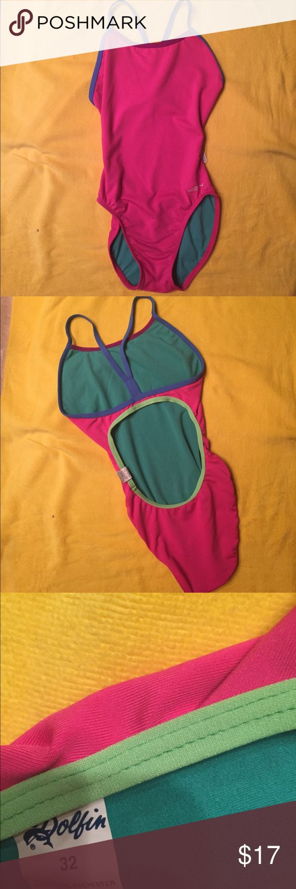 Multi color one piece 😘 this Bellas multi-color fixed strap onesie in pink with blue straps and lime green piping on back. If you like Jolyn onesies *NOT Jolyn*, you're going to love this one piece. ☀️🏊♀️🏄♀️ NWOT see sizing chart in photos under Women- Bellas Jolyn Clothing Swim One Pieces