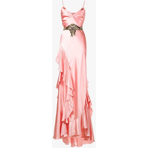 Gucci Ruffle Slip Gown ($5,990) ❤ liked on Polyvore featuring dresses, gowns, pink ball gown, embroidery dresses, sweetheart gowns, pink glitter dress and pink ruffle dress