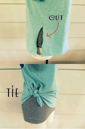 Tie a knot with the two parts of the slit in a t-shirt...great for too big t-shirts!