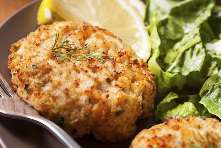 Basic Crab Cakes with Steamed Asparagus Recipe by Angela Carlos