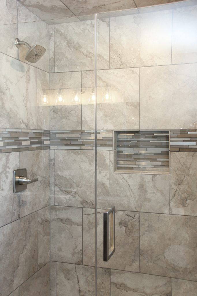 Shower Tile Montecelio 18x18 Argento Accent Tile Bliss Glass Linear Strip Stone Stainless Blend M Shower Tile Bathroom Shower Design Bathrooms Remodel