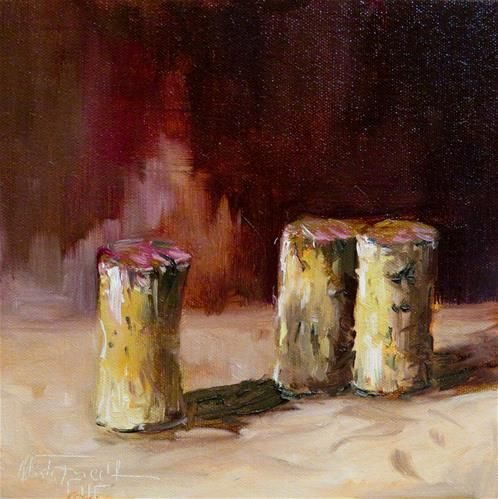 """Daily Paintworks - """"Three red wine corks"""" - Original Fine Art for Sale - © Christa Friedl"""
