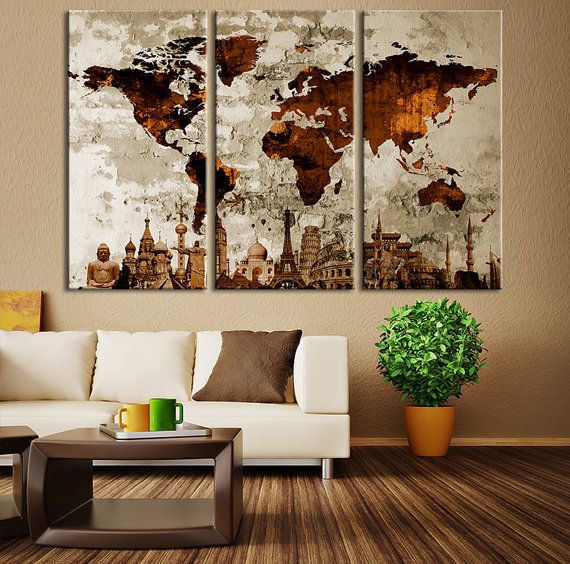 Large World Map Wall Art, Great Design Great Gift Idea, Multicolor World Map Canvas Print, ◆ GENERAL INFORMATION  ♥ 1,5 (3 cm) thick wood frame
