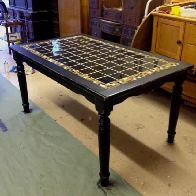 Antique Black Tile Top Table Furniture Pinterest Colors Antiques And The O 39 Jays