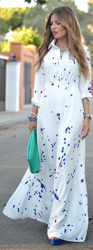 Choies White Casual Maxi Blue Spot Dress by Mi Aventura Con La Moda