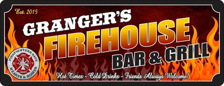 Firehouse Bar & Grill Personalized Sign with Established Date, Fire Rescue Emblem and Flame Background