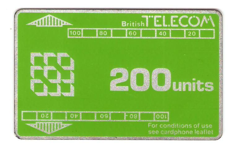 BT 200 units card phone. Short track, no notch. Control number 548 179 (6 digits)