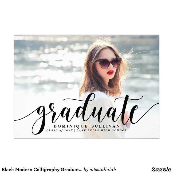 207 best graduation announcements invitations images on pinterest black modern calligraphy graduation announcement stopboris Images