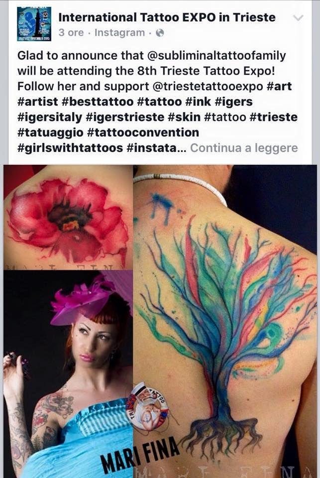 Annuncio ufficiale della presenza di Mari Fina all' 8 International Tattoo Expo di Trieste.Trieste Tattooexpo Onorata di esserci.  http://www.sublimnaltattoo.it  #tattooconvention   #trieste   #marifina   #subliminaltattoofamily   #monza   #femaleitaliantattooartist