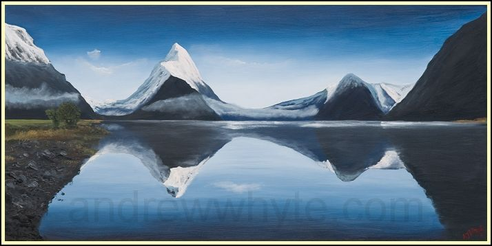 Mitre Peak Painting of New Zealand. I like this painting.... I think. Do you?
