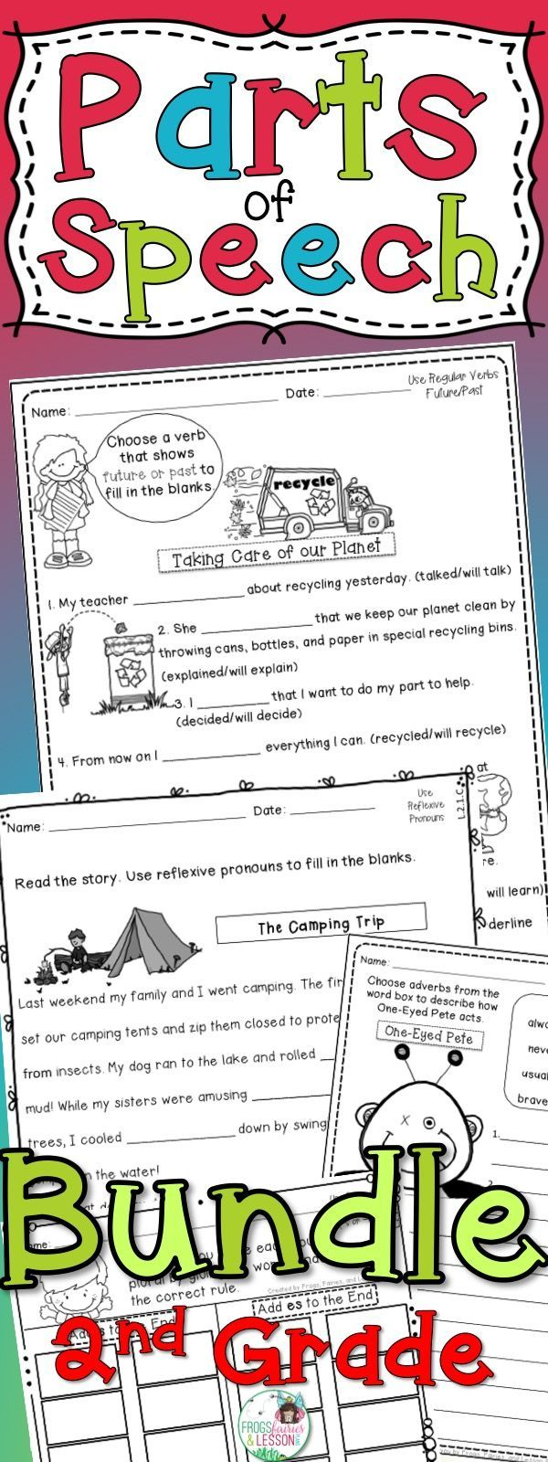 Second Grade Parts of Speech Worksheets, Activities, Literacy Centers, and Games! Save time and money with this Bundle. It includes the common core standards that your 2nd grader needs to know about Nouns, Verbs, Adjectives, Adverbs, and Pronouns! Click to see the product preview.