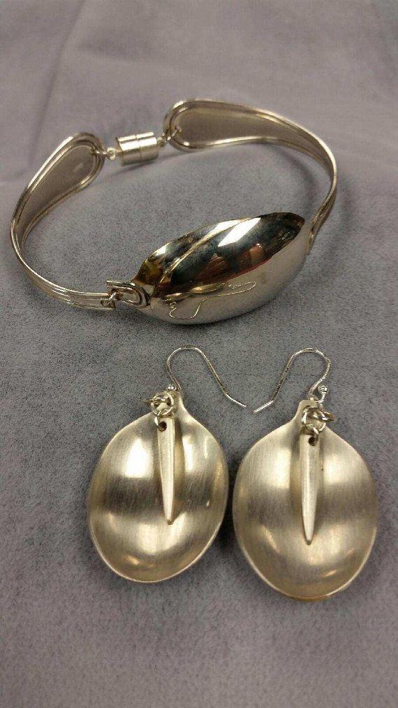 Vintage silverware spoon bracelet with dangle by RCMjewelrydesigns