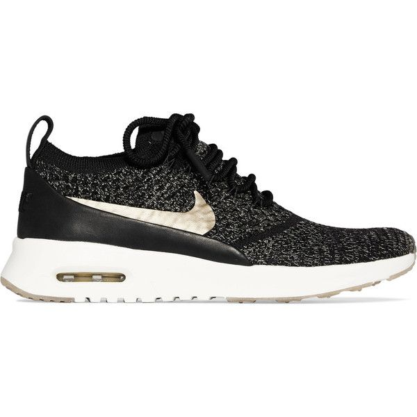 Nike Air Max Thea Ultra leather-trimmed Flyknit sneakers ($180) ❤ liked on Polyvore featuring shoes, sneakers, black, leather shoes, metallic gold sneakers, nike shoes, flyknit sneakers and black leather trainers