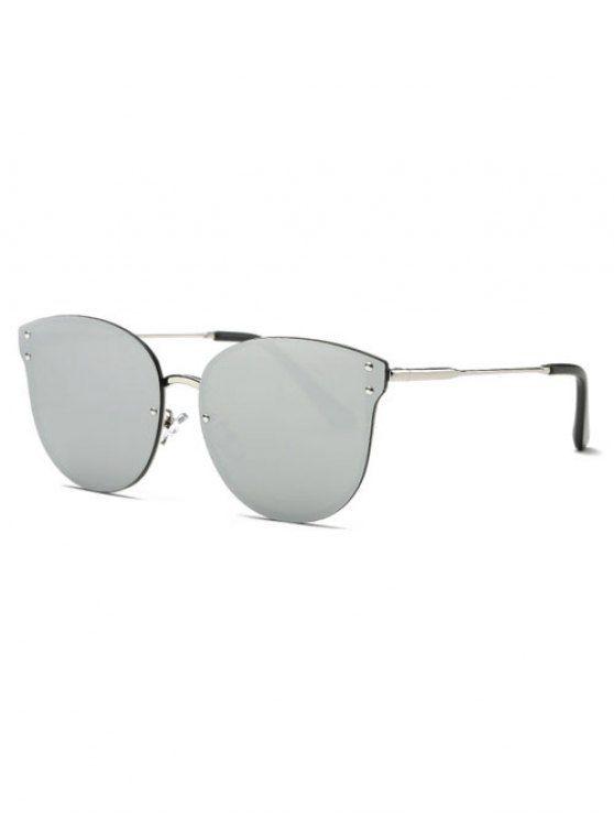 Sin marco con espejo gafas de sol del ojo de gato - Plata